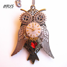steampunk gothic punk red heart wings owl watch gears pendant chain brooch pin men women boys girls vintage jewelry party gift