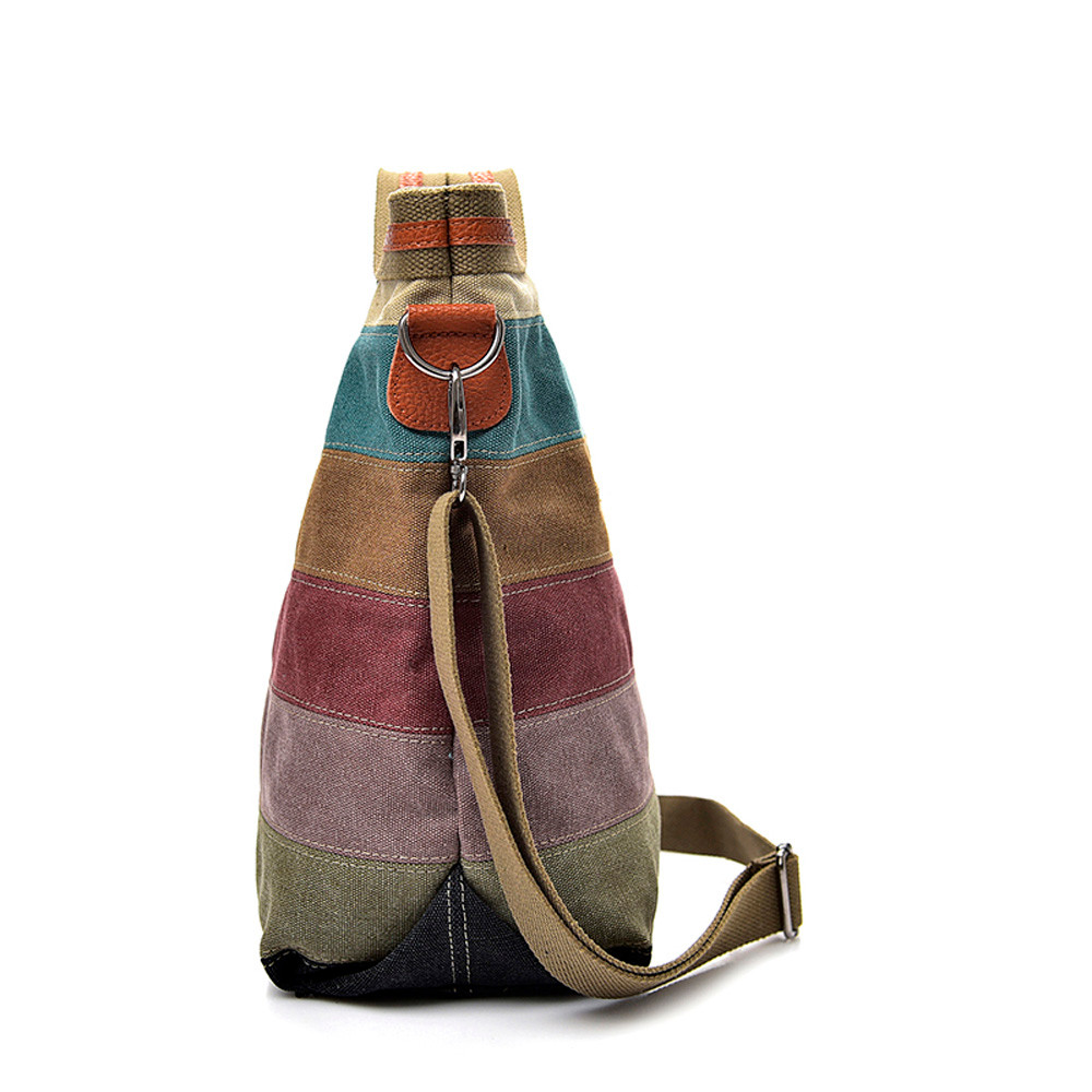 Casual handbag Women Canvas Splice Stripe Crossbody Shoulder Bag casual Totes super quality bolsa feminina 3