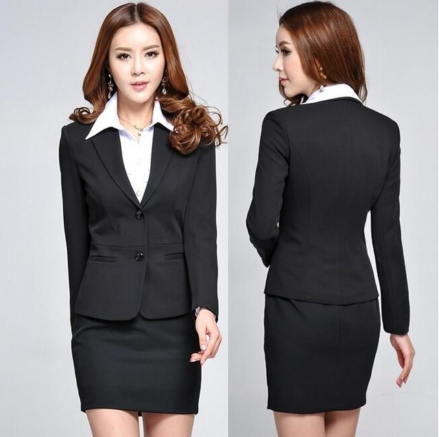 New Plus Size Elegant Black 2015 Femininos Autumn Winter Fashion Slim Professional Work Wear Suit With Skirt Beautician Uniforms