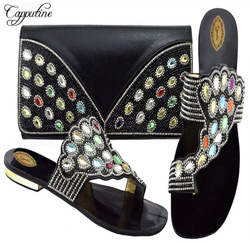 Capputine Latest African Matching Shoes And Bags Italian In Women Nigerian  Low Heels Party Shoes And Purse Sets For Party-in Women s Pumps from Shoes  on ... 4c574b5796cb