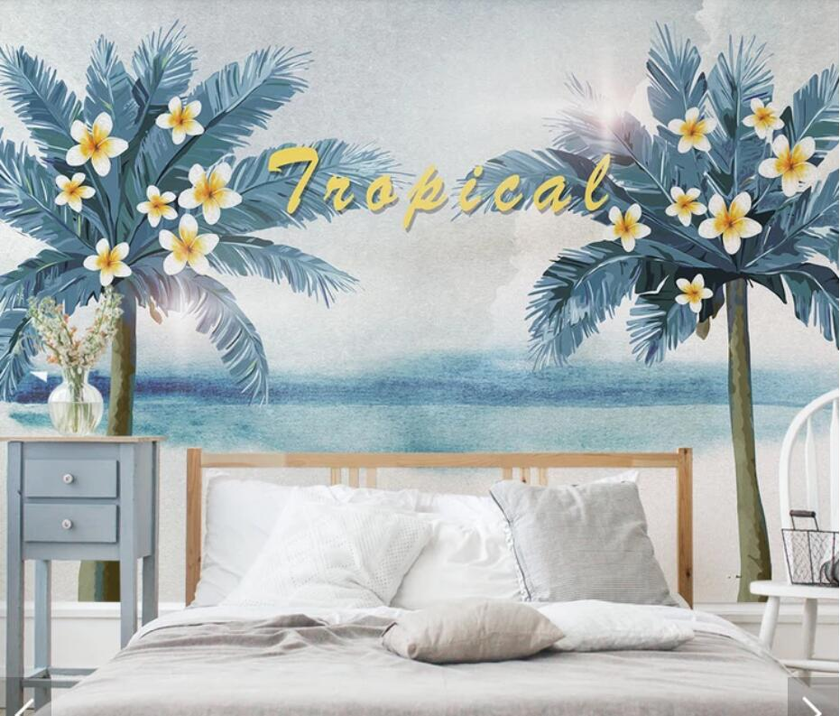 3d European Tropical Palm Tree Wallpaper Murals Bedroom Wall Mural Decals Wall Art Wall Paper Contact Paper Sun Flower Scenery In Wallpapers From Home