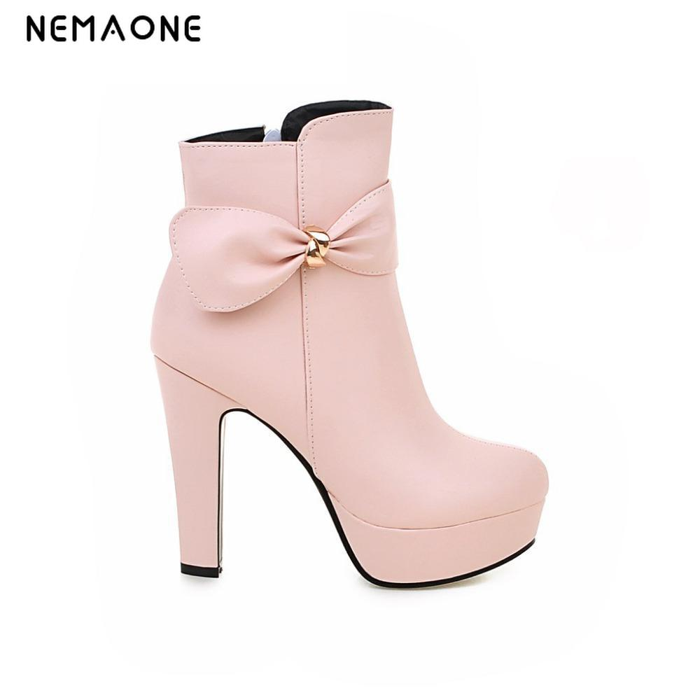 NEMAONE 2017 free shipping big size 34-43 round Toe Women Platform Boots Fashion High Heels Boots For Women Winter Ankle Boots big size 34 42 high quality genuine leather leisure low heels ankle boots fashion cowhide round toe platform women boots