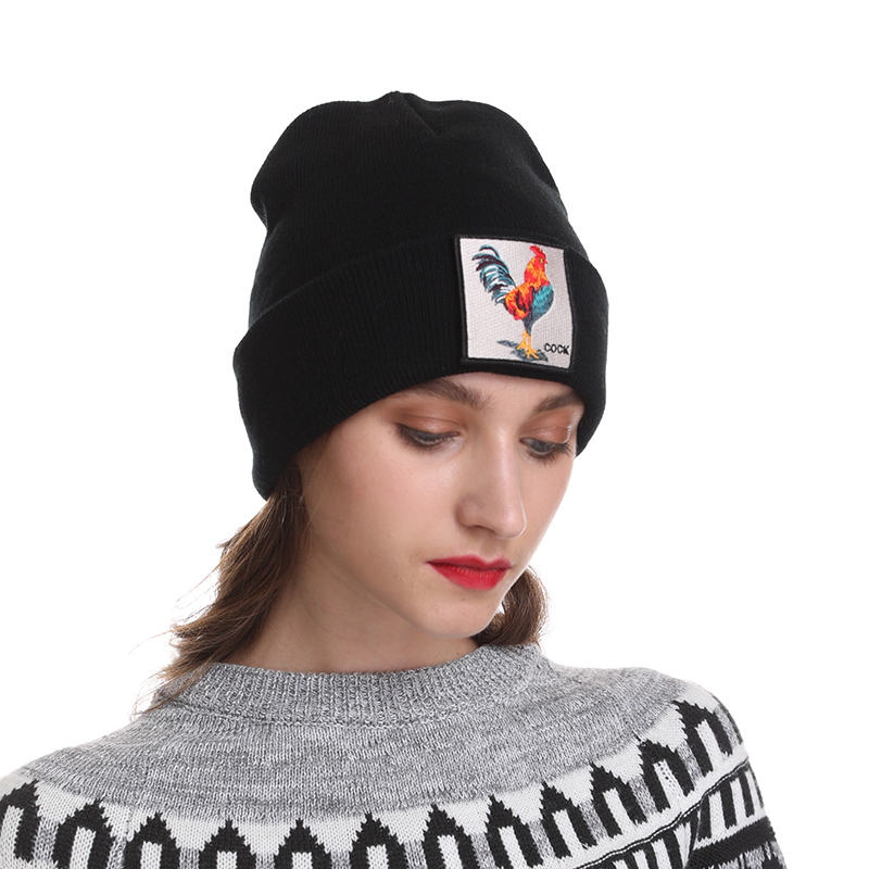 Women's Winter Hats Men's Black Knitted Beanie Hat Female Embroidery Animal Hip Hop Cap White Red Balaclava Skullies Hats