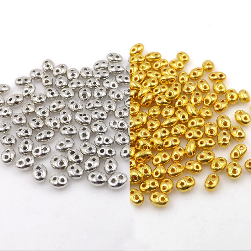 Glass-Seed-Beads Luster Two-Hole-Bead Czech 100pcs 5x2.5mm U-Pick-Color Hot New