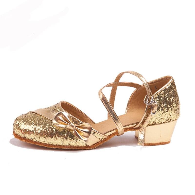 Femmes Salle De Bal Latine Chaussures De Danse À Talons Bas 3.5 cm Enfants Salsa Chaussures de Sol Intérieur Rumba Samba ChaCha Chaussures De Danse 1722