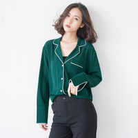 2019 spring Korean retro suit collar lazy pajamas blouse women's simple wild loose chiffon blouse long sleeved