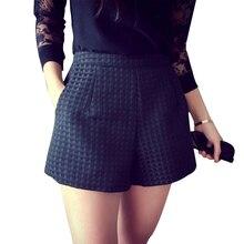 2016 Nova Moda Da Europa Xadrez calções-cintura alta shorts Coreano mulheres Casuais Shorts Jeans calções crochê(China (Mainland))