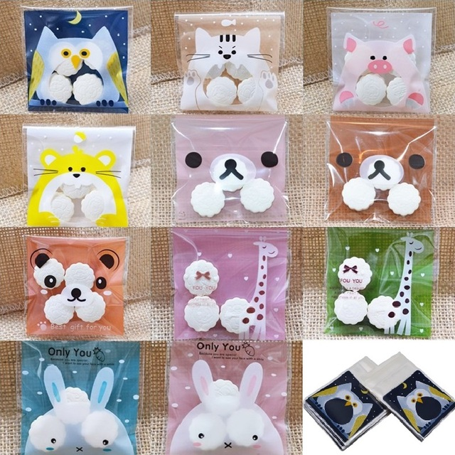 50 100pcs Cute Cartoon Gifts Candy Bag For Christmas Wedding Birthday Cookies Biscuits Packaging Self