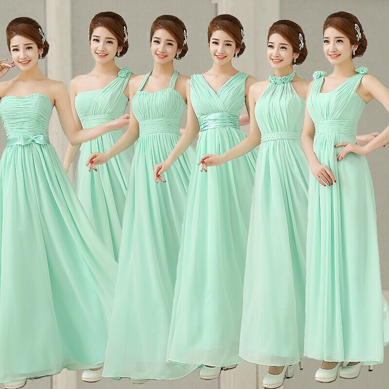 Pastel Mint Green Bridesmaid Dress Chiffon Real Photos Light Blue ...