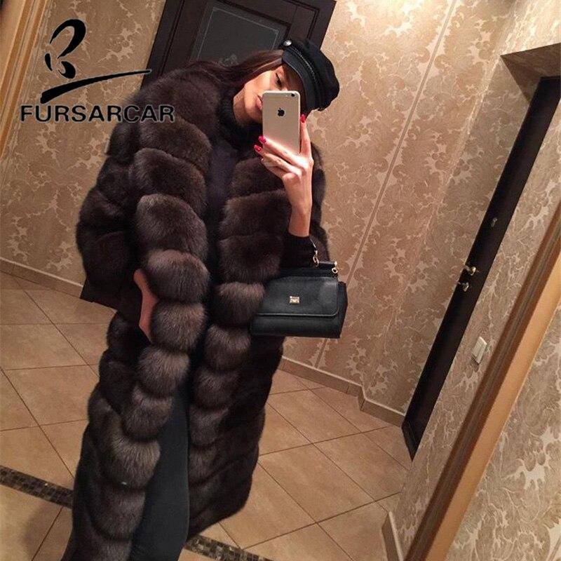 FURSARCAR 2018 New Real Naturale di Pelliccia di Volpe Cappotto Con Turn-down Collo di Pelliccia di 100 cm Lungo Femminile Pelliccia di Volpe giacca Invernale Donne Cappotto di Pelliccia