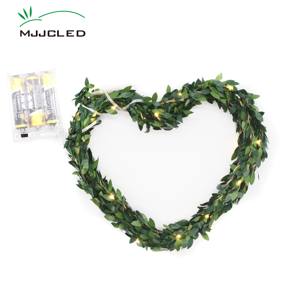 Us 2 89 42 Off Leds Leaf Garland Battery Operated Fairy Lights 2m 5m Twine Copper Wire Green Leaves Led Christmas Decoration Outdoor Wedding In