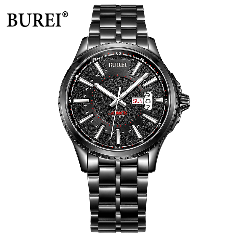 BUREI Men Quartz Watch Mens Watches Top Brand Luxury Military Sapphire Crystal Army Wrist Watch Clock Man Saat Relogio Masculino брюки conquista брюки стрейч