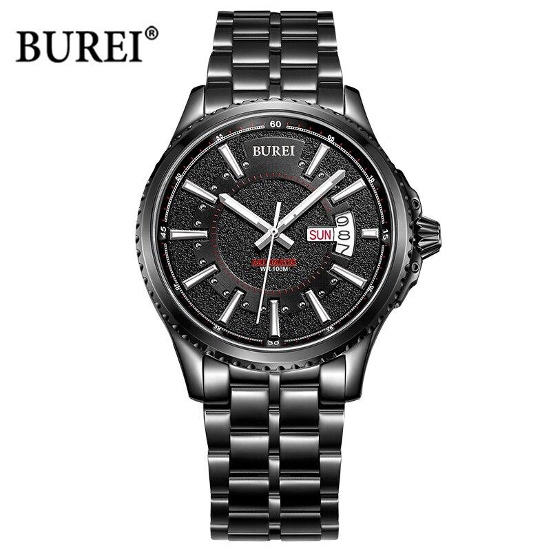 BUREI hommes montre à Quartz hommes montres Top marque de luxe militaire saphir cristal armée montre-bracelet horloge homme Saat Relogio Masculino