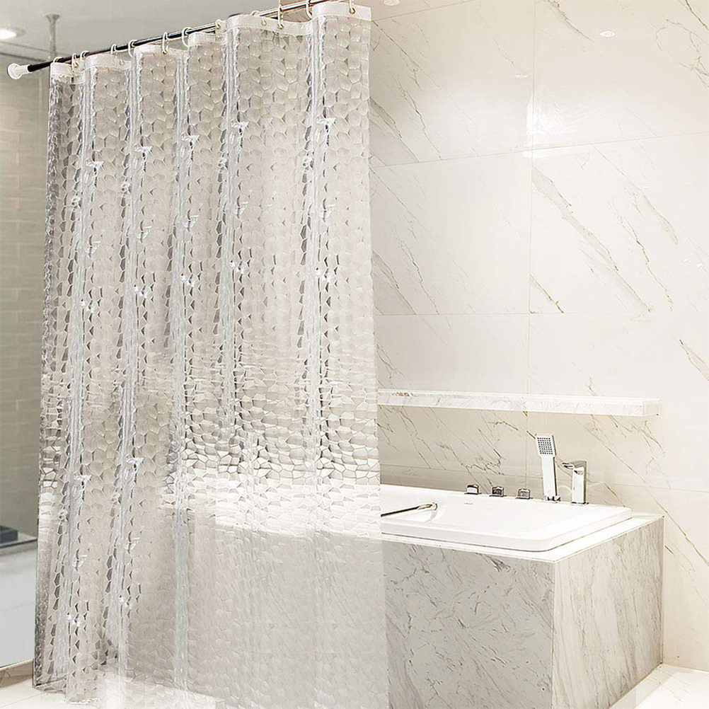 waterproof eva transparent shower curtain with 12 hooks bathing sheer for home decoration white clear bathroom curtain