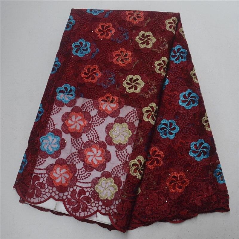 Nouveau Design africain dentelle tissu haute qualité français dentelle tissu pour robe de soirée brodé fleurs dentelle nigérian pierres PSA327-1