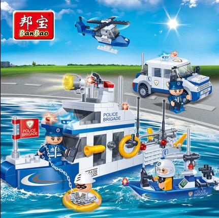 BanBao Police Educational Building Blocks Toys For Children Kids Gift City Hero Weapon Car Helicopter Boat Stickers 009 6727 city street police station car truck building blocks bricks educational toys for children gift christmas legoings 511pcs