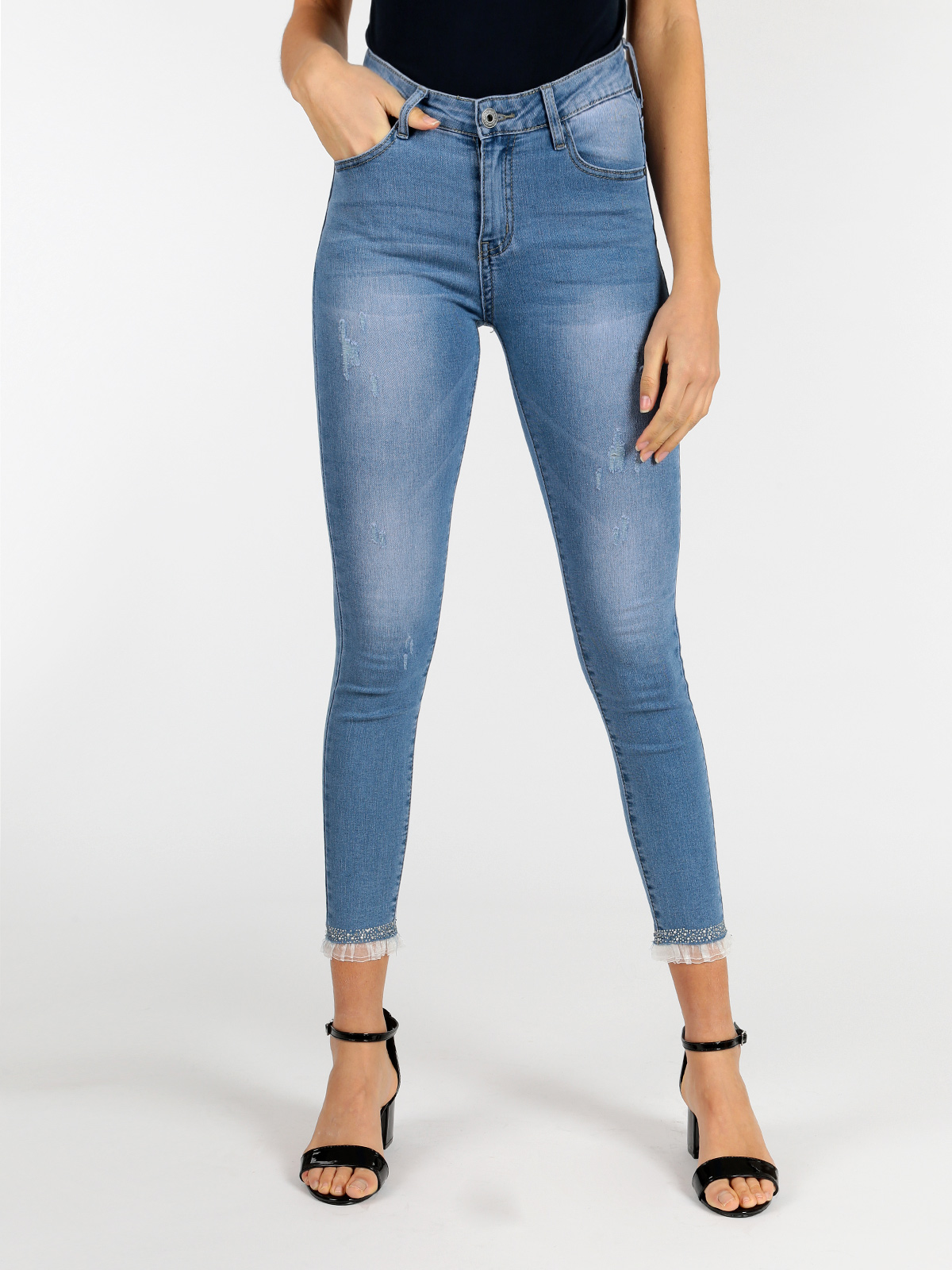 FIONINA   JEANS   skinny   jeans   with rhinestones