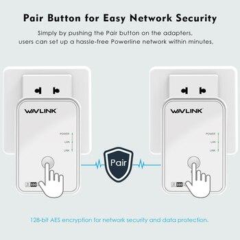 1pair Wavlink AV500 Powerline Network Adapter RJ45 500Mbs Powerline Kit Ethernet adapter IPTV HomePlug AV Plug and Play EU/US