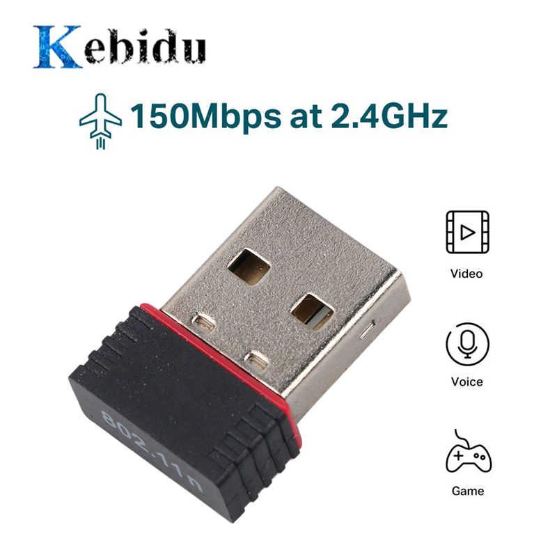 Kebidu Mini USB Wifi Adapter 802.11n Antenna 150Mbps USB Wireless Receiver Dongle Network Card External Wi-Fi RTL8188EU
