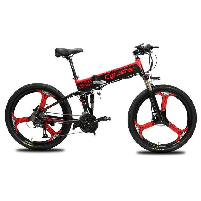 Cyrusher Красный Новый XF770 полная Подвеска Горный складной электрический велосипед 27 скоростей двойной дисковые тормоза 250 Вт 48 В 10ah Ebike