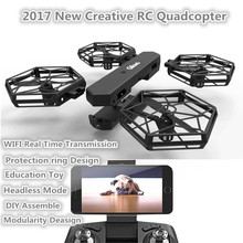 DIY assemble RC quadcopter T908W 2 4G headless mode creative funny double remote control WIFI real