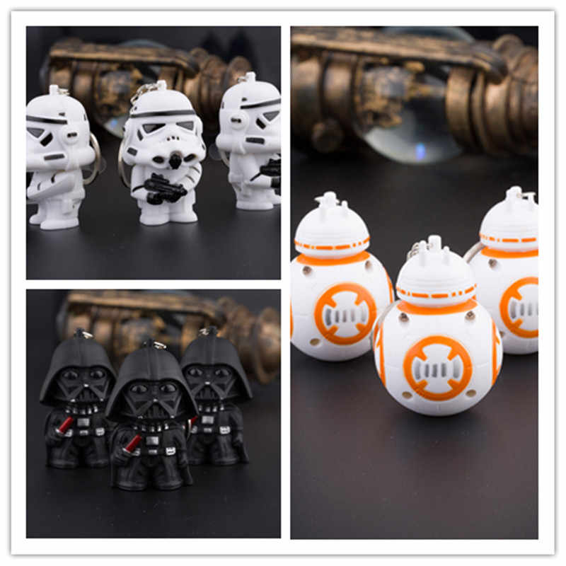 Nouveau Star Wars la Force réveille BB8 R2D2 droïde Robot porte-clé LED figurine d'action stormtrooper Clone sangle dark vador porte-clés 2 #