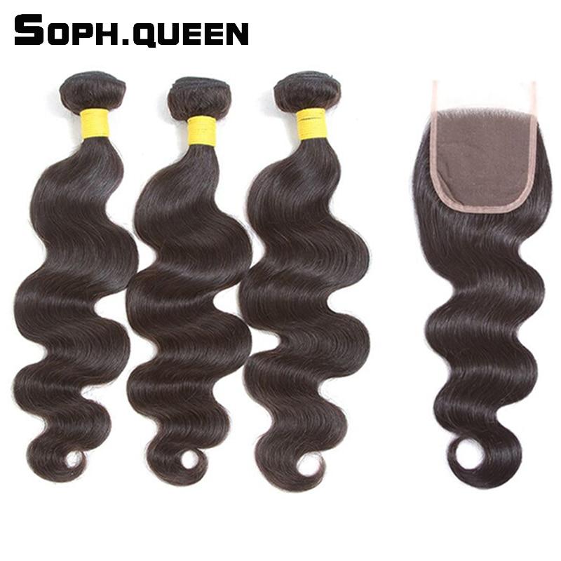Sophqueen Remy Hair Brazilian Body Wave 3 csomók záró csipke hajas - Emberi haj (fekete)