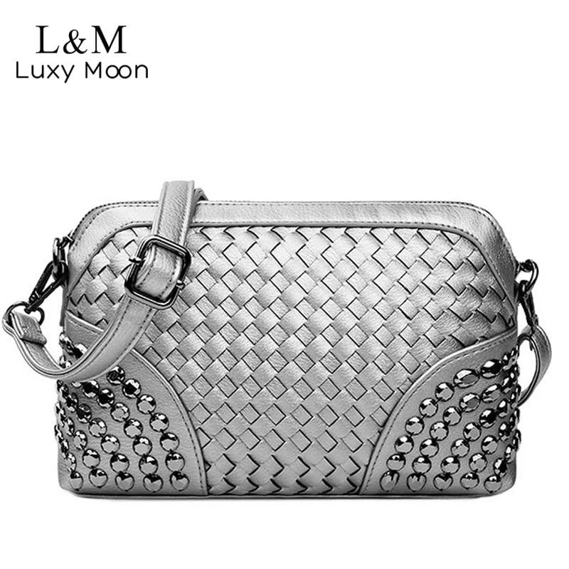 Knitting Crossbody Bag Women Silver Hand Bags Mini Gold Woven Day Clutch Rivets Black Leather Beach Shoulder Messenger Bag XA93H