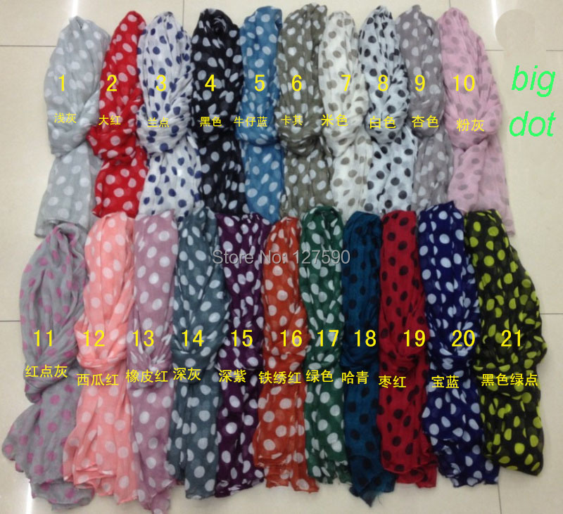 2014 Scarf Fashion Women Big Size Polka Dot Print Scarves  Dot Shawl Wrap Women Hijab Scarf Wholesale10pcs/lot Free Shipping