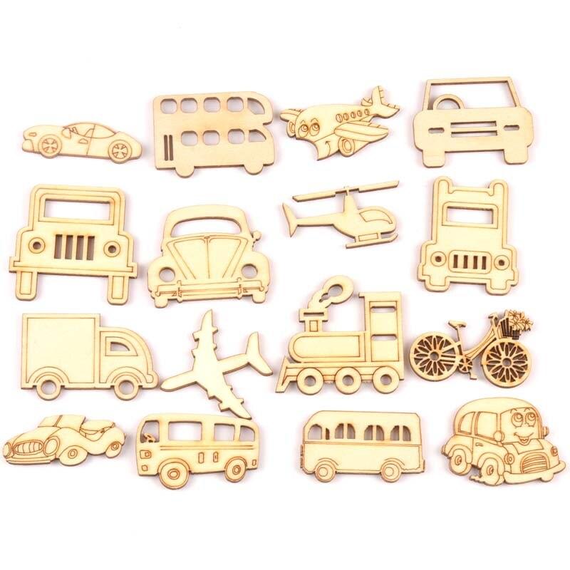Mixed Wooden Vehicle Car Arts Scrapbooking Ornament Crafts DIY Handicraft Decoration Wedding Accessories 20pcs 30-50mm Mt2137
