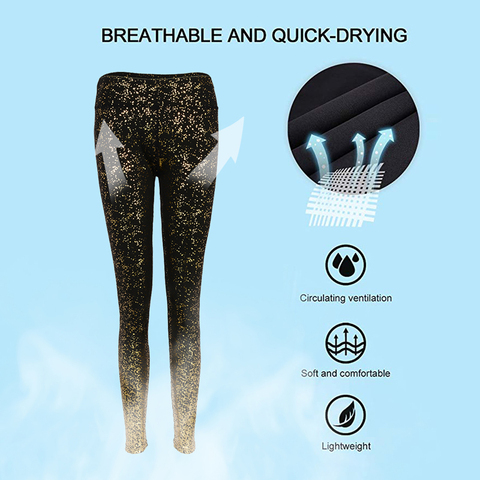 HEFLASHOR High Waist Pants Women Running Fitness Gym Sports Leggings Glitter Trouser Stretchy Compression Sportwear New Arrival Islamabad