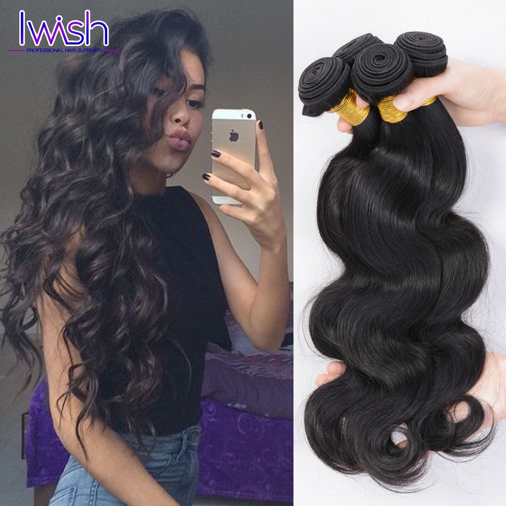 Iwish Hair Peruvian Virgin Hair Body Wave 4 Bundles Peruvian Body Wave Virgin Peruvian Hair Bundles Human Hair Extensions