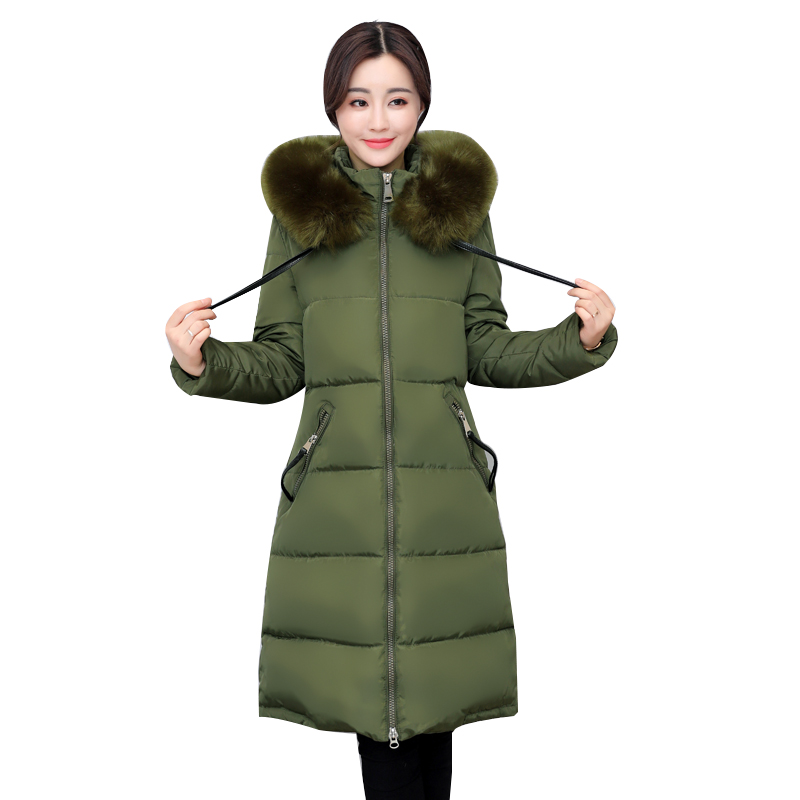 2017 Winter Women Coat High Quality Warm Jacket Full Sleeve Long Parkas Hooded Fur Collar Pockets Cotton Padded Female Outwear 9 cd
