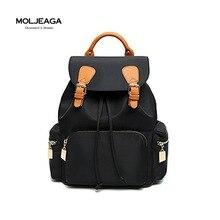 Moljeaga нейлон кожа панелями сумки мода женская сумка отдыха и путешествий рюкзак тенденция водонепроницаемый рюкзаки drawstring