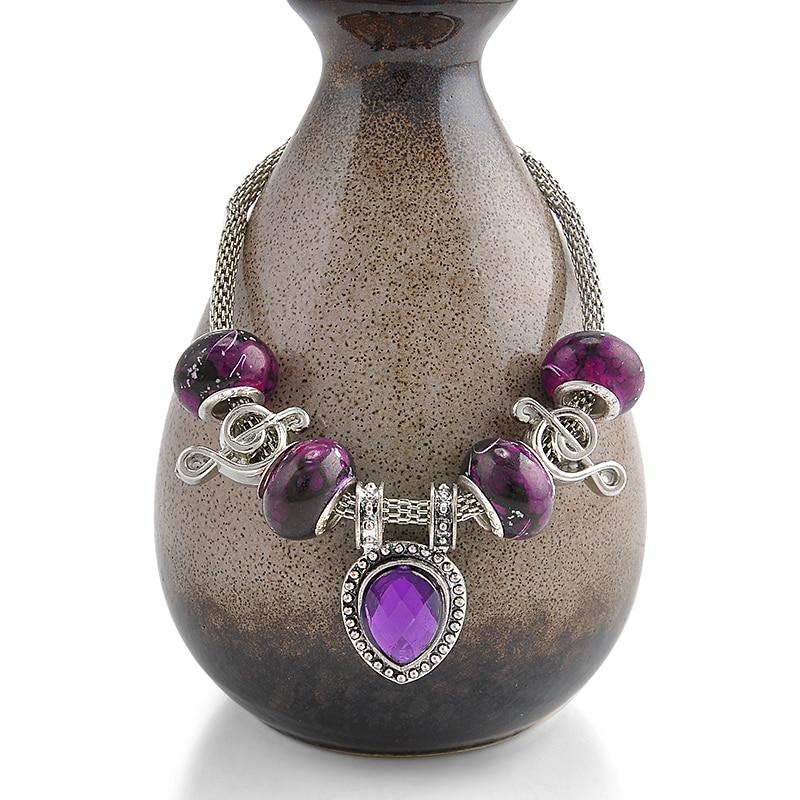 Purple Beads Charm Bracelets For Women Glass Music Bracelet Femme DIY Snake Chain Bracelets & Bangles Pulseras Fine Jewelry