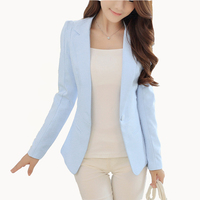 New Fashion Women Solid Blazer Females Casual Suit Womens Single Button Slim Jacket Female Top Coat