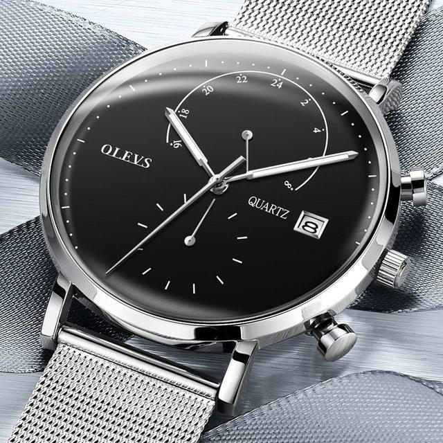 OLEVS Original  Men's WatchSport Waterproof Quartz watch Military Chronograph Men Watches Stainless Steel mesh belt Wristwatch | Fotoflaco.net