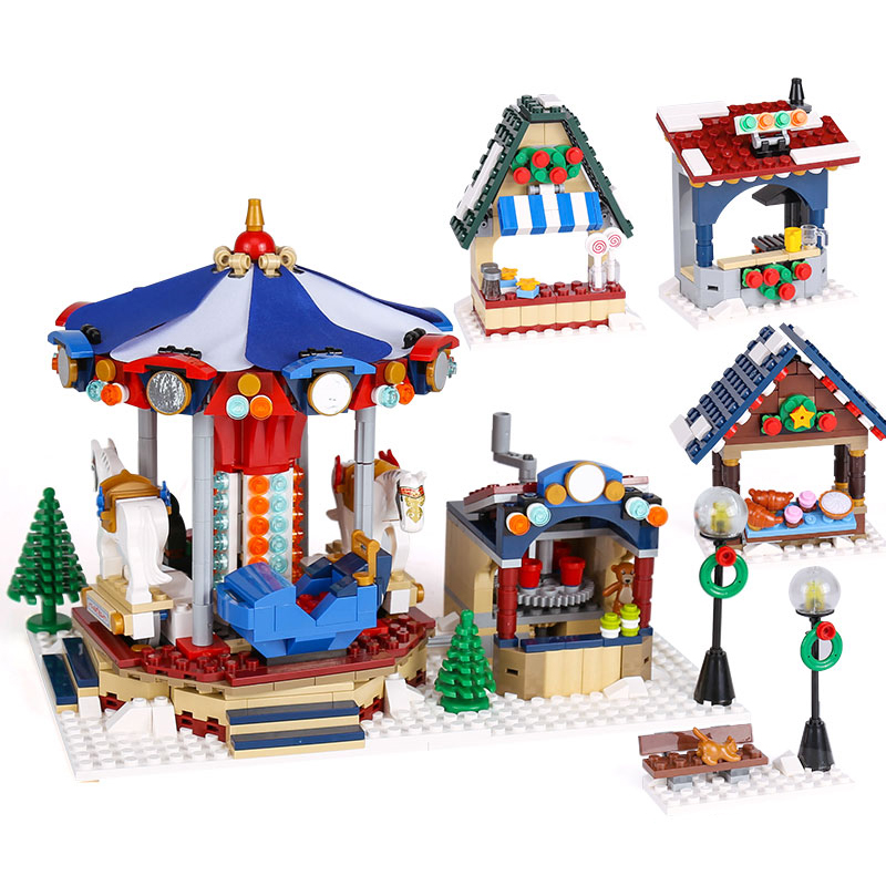 36010 LEPIN 1412PCS The Winter Village Market Model Building Blocks Classic Enlighten Figure Toys For Children Compatible Legoe lepin 36010 creative series 1412pcs the winter village market set 10235 building blocks bricks educational toys christmas gifts