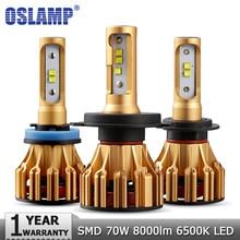 Oslamp H4 H7 H11 9005 9006 רכב LED פנס נורות Hi lo קרן SMD שבב 70W 7000LM 6500K 12v 24v אוטומטי Led פנס המכונית אור הנורה