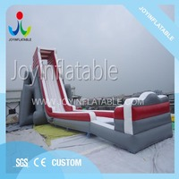Inflatable slide with a long swimming pool for children