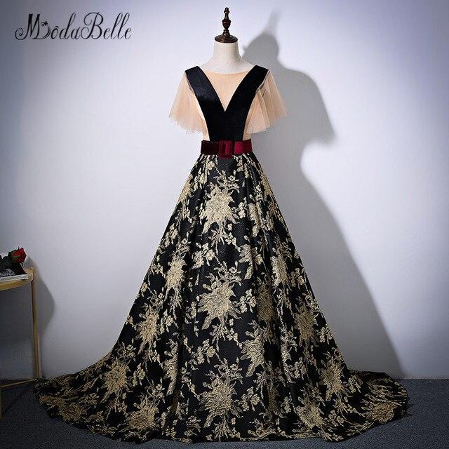 modabelle Arabic Embroidery Flower Evening Dresses Black Avondjurken Vestido Longo Formal Party Long Prom Dress 2018