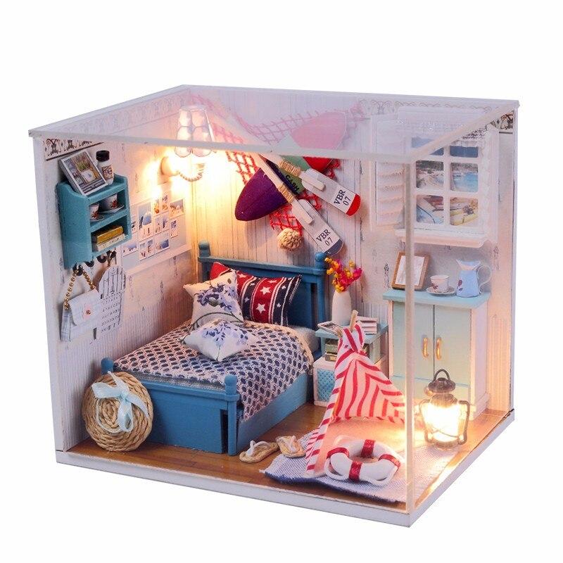 1pcs new arrival hoomeda summer romance diy wood dollhouse miniature cute doll kits toys with led aliexpresscom buy 112 diy miniature doll house
