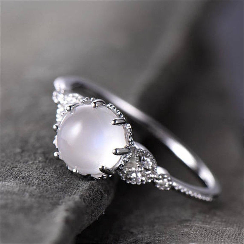 Hot Sale Moonstone Wedding Rings for Women White Opal Engagement Ring Plated Rose Gold Color Fashion Party Jewelry bague femme