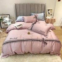 2019 Новый стиль бантом Постельное белье роскошный спальный набор шелковая простыня queen King Размеры постельное белье Розовый Синий белое пост