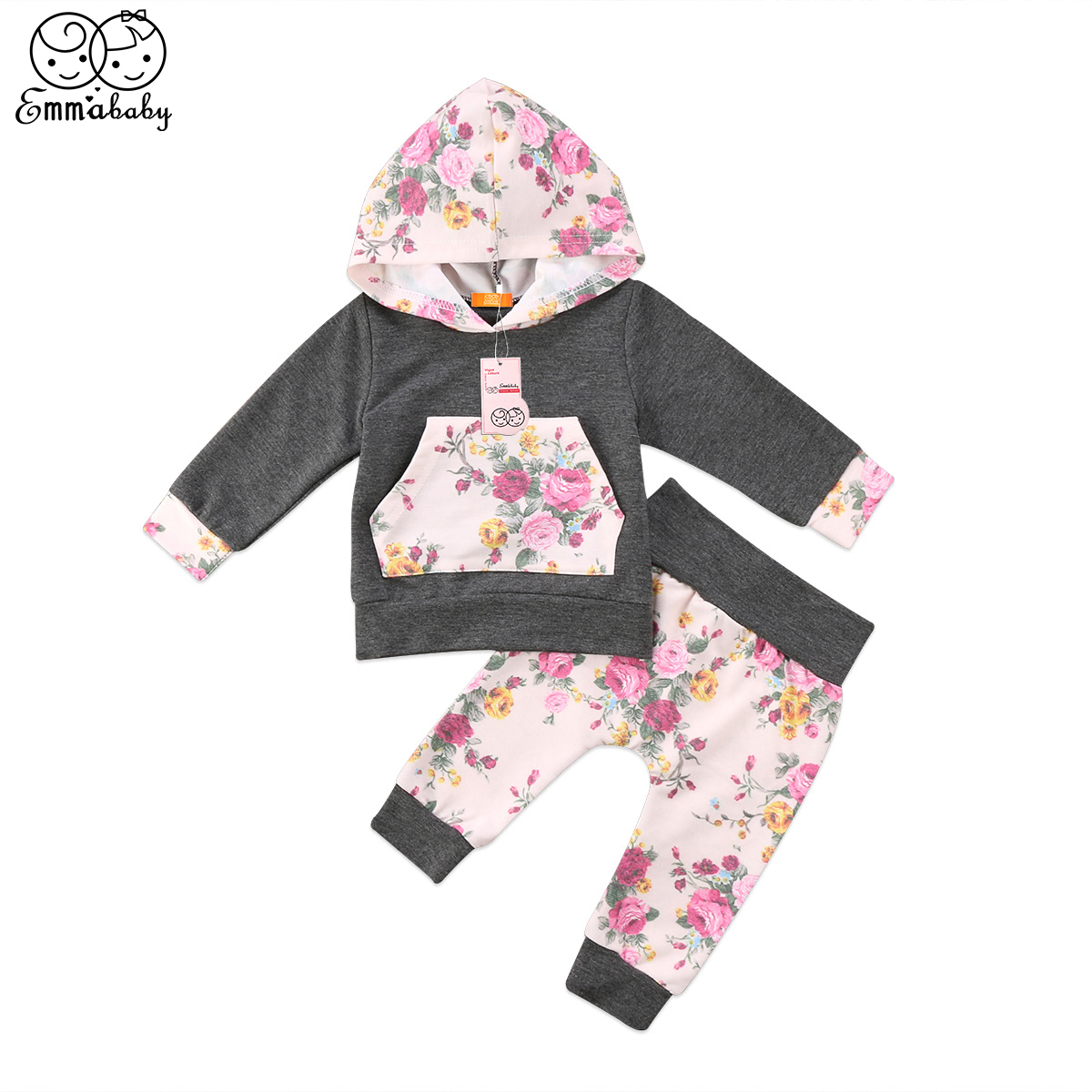 New arrival autumn winter casual kid clothes set Newborn Baby Girls Hooded Tops Floral print Pants Leggings 2pcs Outfit Set