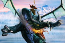 Home decoration wings dragons fantasy art warrior flight mountains sky fire Silk Fabric Poster Print QX267