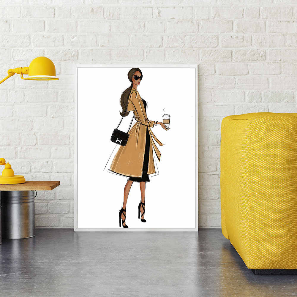 Fashion Woman Picture Scandinavian Poster Three Hair Color Wall Art Canvas Painting Home Decor Metal Organic Glass Framed
