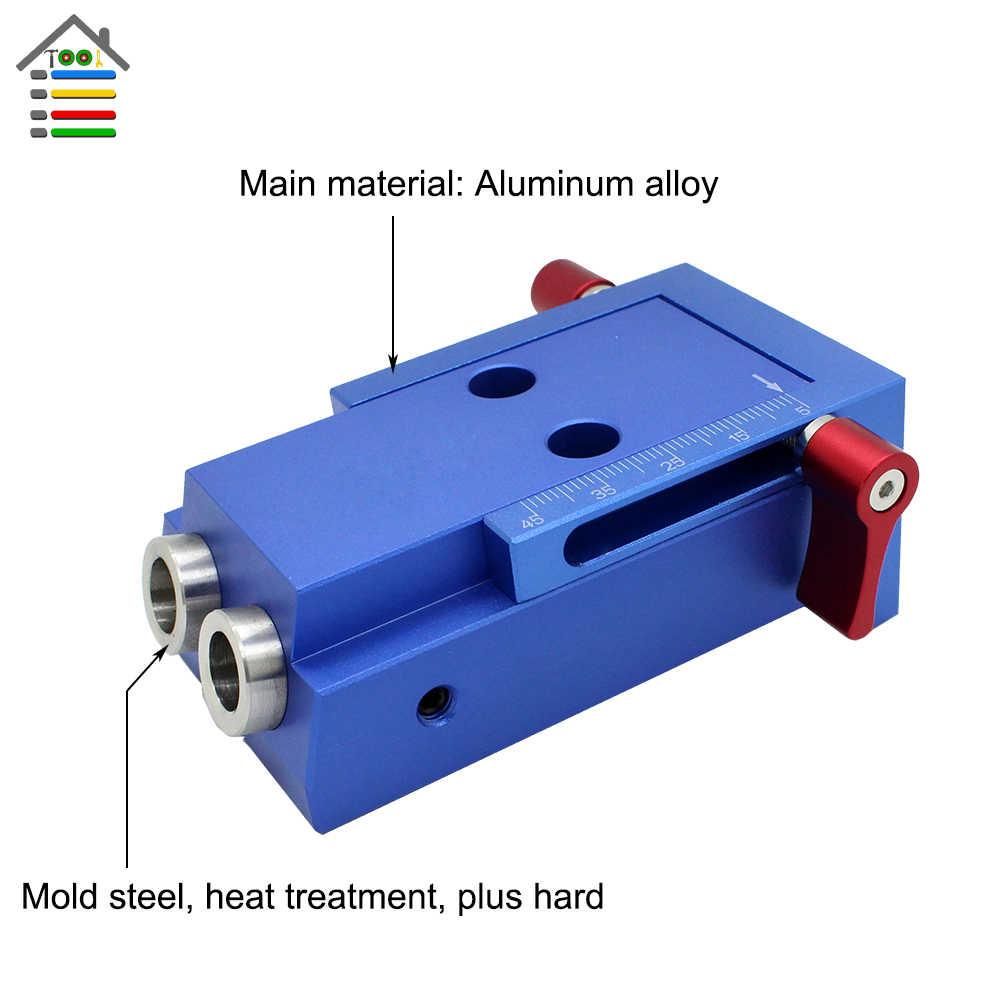Aluminum Pocket Hole Jig Kit For Kreg Wood Hole Saw 9 5mm Step Drill Bits  150mm PH2 Screwdriver Bit with Pocket Plugs Screws