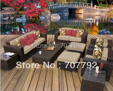 Bahama Outdoor Wicker Patio 9 Piece Set With Loveseat   Sand