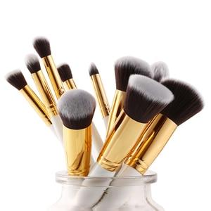 Image 4 - Jessup Brush Professional 10pcs Kabuki White/Gold Makeup Brushes Set Beauty Foundation Cosmetics Make up tools Synthetic Hair